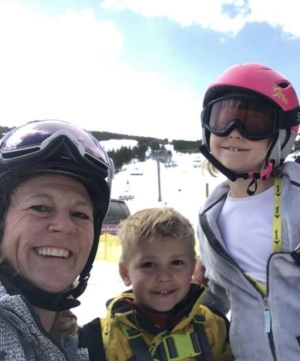 Tawni Cummings and her children on a ski trip